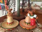 VTG CHIHUAHUA ON A SOMBRERO SALT AND PEPPER SHAKERS BY CLAY ART  7322