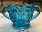 Antique Vintage L.E. Smith Blue Glass Moon and Stars Open Sugar Bowl