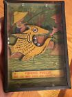 ANTIQUE GLASS TOP HAND HELD FISH FISHING PUZZLE GAME