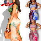 Womens 2 Piece Strappy Crop Tops Bodycon Skirt Club Set Party Holiday Maxi Dress