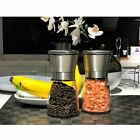 Salt and Pepper Grinders Shakers Set Mill Spices Crusher Glass  Stainless Steel