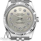 Rolex 36mm Datejust Silver Color Diamond Accent Dial Watch with Fluted Bezel