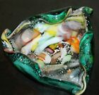 LARGE MURANO MID CENTURY ART GLASS Multicolored Melted Bowl