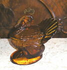 VTG 1980s Amber Glass Turkey Covered Dish L.E. SMITH 2 Piece 7