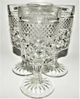 4 Anchor Hocking Wexford Crystal Wine Water Goblet Footed Glasses Clear 6.5