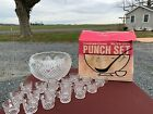 Vintage L.E. Smith Glass Co. Punch Bowl Set Pineapple Design with 18 Cups In Box