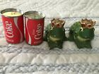 VINTAGE FROG SALT AND PEPPER SHAKERS AND COCA COLA SHAKERS