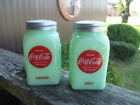 Coca Cola Salt and Pepper Shaker Jadeite Glass Depression Style Disc BRAND NEW