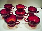 7 VINTAGE RUBY GLASS CUPS