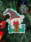Handmade Cross Stitch Christmas Ornament-Completed-Funny Elf-Gift-Home Decor-New
