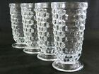 Vtg Set 4 Lancaster Colony Glass WHITEHALL Iced Tea Footed Tumblers Cube Design