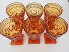 VINTAGE Gorgeous Amber Glass Footed Ice Tea Glass-Set of 6 SIX