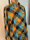 Turquoise Marigold Black Plaid Stretch Cotton LOUDMOUTH Chefs Coat Large NWT