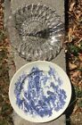 2 Plates Pretzel Sandwich Bread Indiana Glass Fruit Center Clear Wedgewood Blue