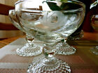 ANCHOR HOCKING (8) CLEAR ETCHED BUBBLE FOOT CHAMPAGNE/SHERBET