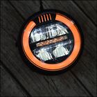 6.8 inch Motorcycle LED Headlight w/ Amber Halo Ring DRL Cafe Racer Custom Bike