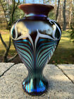 Signed Stunning Carlson Studio Art Glass Blue Aurene Color Pulled Feather Vase