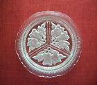 Vintage Glass Relish Dish with Etched Fruit Design, Divided, Scalloped Edge