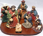 Christmas Nativity Set 7 Porcelain Figurines Wood Base 4 to 5 tall Jewel Tones