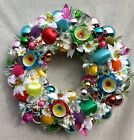 Vintage Rainbow Glitz Christmas Ornament Wreath