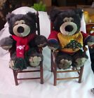 PAIR OF TEDDY BEARS SITTING IN A WOODEN CHAIR
