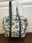 Vintage Roxy Carry On Luggage Bag Tote Suitcase Travel Blue White
