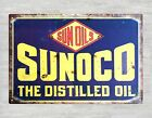US Seller-Sunoco the distilled oil tin metal sign metal wall plaques accents