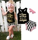 US Summer Toddler Baby Girls Kids Tops Vest PP Pants Headband Outfit Clothes Set