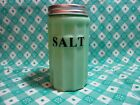 Jadeite Green Glass Small Salt Canister with Metal Lid in Excellent Condition