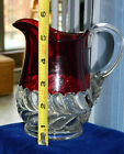 VINTAGE 5 inch Tall Ruby RED Stained EAPG PLUME Pattern Glass CREAMER / PITCHER