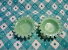 Jadeite Green Glass Candlewich Salt Cellars x 2 in Excellent Condition