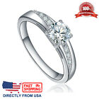 Womens Stainless Steel Cubic Zirconia CZ Solitaire Engagement Wedding Ring