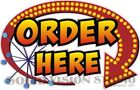 Order Here Arrow Concession Trailer Hot Dog Ice Cream Food Truck Menu Sign Decal