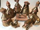 Nativity Creche Mexican Pottery Gold Detail With Wise Men Animals Mexico Rare