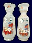 Pair of Bristol Glass Hand Painted White Opaline Scalloped Vases