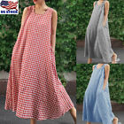 Women's Check Plaid Cotton Linen Baggy Swing Sundress Shirt Maxi Dress Plus Size