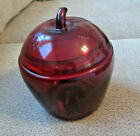 Vtg Anchor Hocking big red glass apple with lid jar bowl 7.5