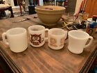 Lot Of 2 Milk Glass Glasbake Mugs And 2 Federal Milk Glass VINTAGE coffee cup