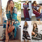 Bohemian Style Womens Split Floral Summer Beach Party Casual Long Maxi Dress US