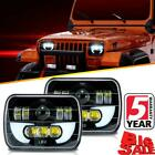 7x6 5X7 LED Headlight Pair Halo DRL For 86-95 Jeep Wrangler YJ 84-01 Cherokee XJ