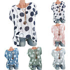 Plus size Womens Polka Dot Loose Blouse Casual Top Short Sleeve Summer T Shirt
