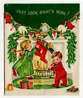 Vintage Christmas Greeting Card Boy  Girl Hanging Up Stocking Fireplace 1950s