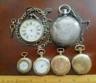 Lot of 6 Vintage Pocket Watches for Parts or Repair.Coin Silver,Gold Filled.