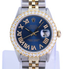 Rolex Mens Datejust Blue Diamond Roman Dial Diamond Bezel Approx 4CTW-QUICKSET