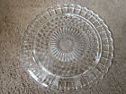 VTG MCM FEDERAL GLASS LOW FOOTED CAKE PLATE, SUNFLOWER, BUBBLE BEADED, SCALLOPED