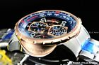 NEW Invicta Mens 48mm Split Case Aviator Compass Chrono 18KRGIP Blue Dial Watch