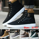 Fashion Mens Oxfords Casual High Top Shoes Leather Shoes Canvas Sneakers Boots