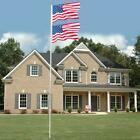 20 FT Flag Pole Aluminum Sectional Halyard Flagpole Kit 2x US Flag Ball American