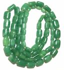 Vintage Faux JADE Bead Necklace GREEN Art Deco Glass Beaded 40 Long Estate Find
