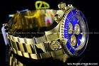 Invicta Men 47mm Grand Diver 24K Gold Plated Blue Dial Gold Chrono Swiss Watch